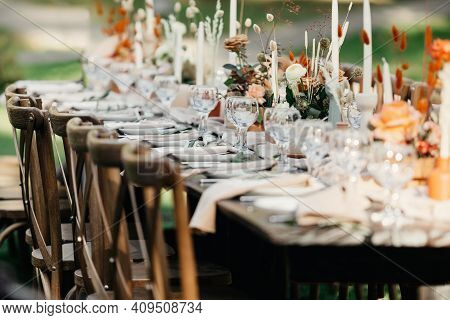Boho Wedding Table For Guests At Bouquet After Wedding Ceremony And Photo For Marriage Blog About In
