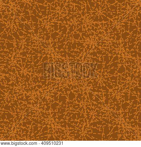 Crazy Faux Stitch Seamless Vector Pattern Background. Modern Needlework Abstract Random Seam Terraco