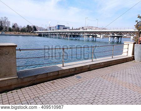 The Blue River, The Bridge And A View Of The Kura River, Migechevir, Azerbaijan. Ron Terrace Overloo