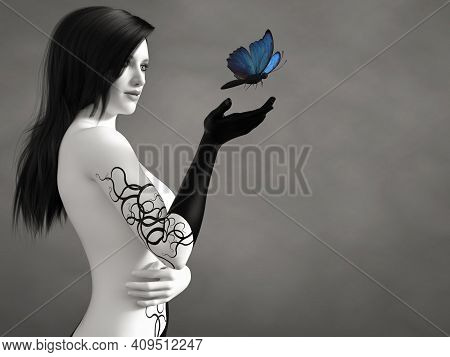 3d Rendering Of A Surreal Bodypainted Woman Looking At A Blue Butterfly. The Image Is Black And Whit