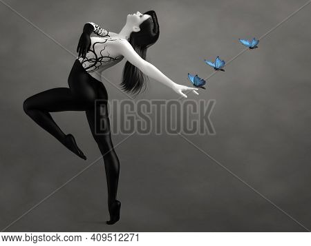 3d Rendering Of A Surreal Bodypainted Woman Dancing With Blue Butterflies. The Image Is Black And Wh