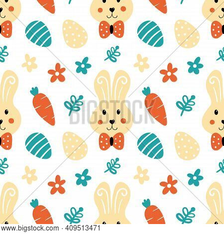 Easter Bunny, Decorated Eggs, Carrots And Flowers Cartoon Style Vector Seamless Pattern Background F