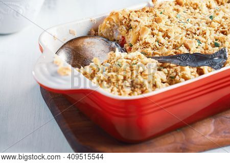 Fresh Cheesy Tuna Casserole With Pasta, Buttery Cracker Crumbs And Fresh Herbs. Could Also Be Used F