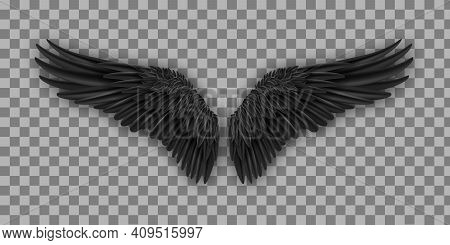 Vector Pair Of Black Realistic Wings. Black Isolated Pair Of Falcon Wings, 3d Bird Wings Design Temp
