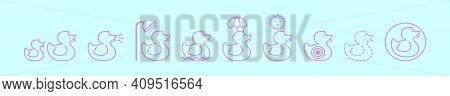Set Of Rubber Duck Cartoon Icon Design Template With Various Models. Modern Vector Illustration Isol