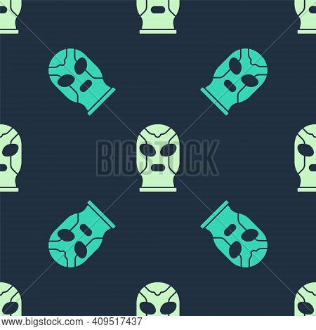 Green And Beige Mexican Wrestler Icon Isolated Seamless Pattern On Blue Background. Vector