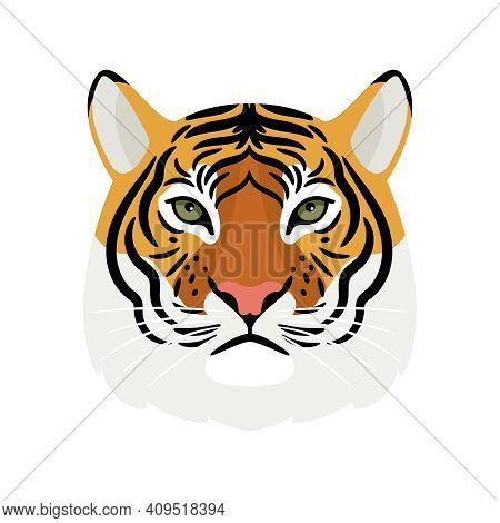 Tiger Head. Cartoon Front Face Of Aggressive King Of Beasts, Symbols Of Hunting Trophy, Vector Illus