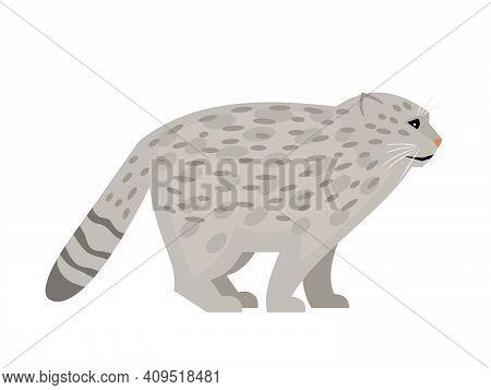 Wild Cat With Spots. Cartoon Cute Exotic Mammal, Fluffy Endangered Beast Of Nature, Vector Illustrat