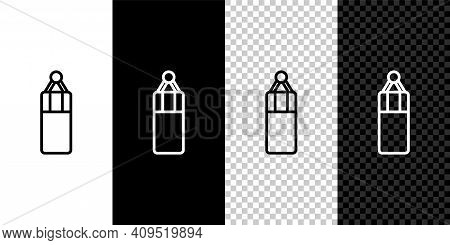 Set Line Punching Bag Icon Isolated On Black And White, Transparent Background. Vector