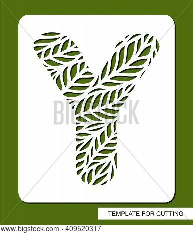 Stencil With The Letter Y Made From Leaves. Eco Sign, Icon, Logo For Organic, Natural Products. Plan