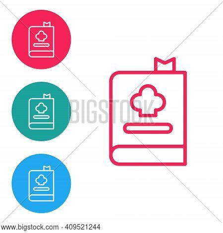 Red Line Cookbook Icon Isolated On White Background. Cooking Book Icon. Recipe Book. Fork And Knife