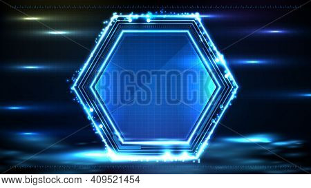 Abstract Background Of Blue Glowing Hexagon Star Technology Sci Fi Frame Hud Ui