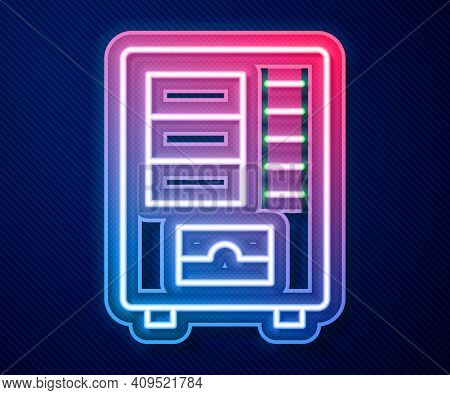 Glowing Neon Line Vending Machine Of Food And Beverage Automatic Selling Icon Isolated On Blue Backg