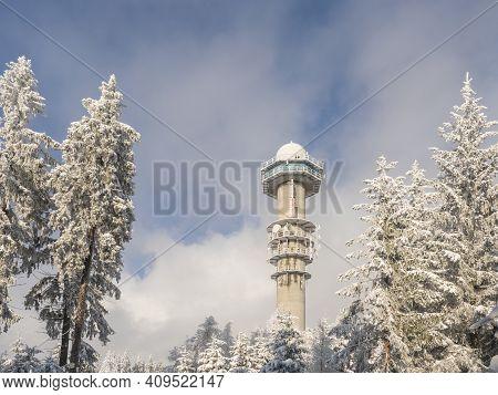 Czech Republic, Brdy Mountains, January 9, 2021: View Of Meteorologic Radar Tower On Top Of Praha Hi