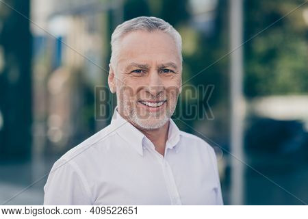 Photo Of Optimistic Grey Hair Old Business Man Wear White Shirt Outdoors Near Work Center