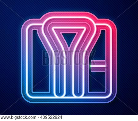 Glowing Neon Line Bathrobe Icon Isolated On Blue Background. Vector