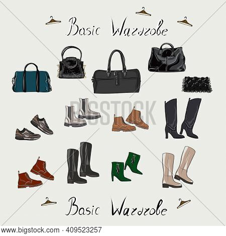 Clothes, Footwear, Shoes And Bags. Fashion. The Basic Wardrobe Of A Minimalist. Isolated Vector Obje