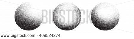Dotwork 3d Spheres Vector Background. Sand Grain Effect. Black Noise Stipple Dots. Abstract Noise Do