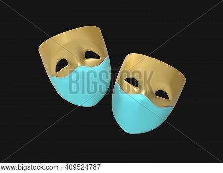 Theatre Masks, Drama And Comedy On Medical Masks On A Dark Background. 3d Image.