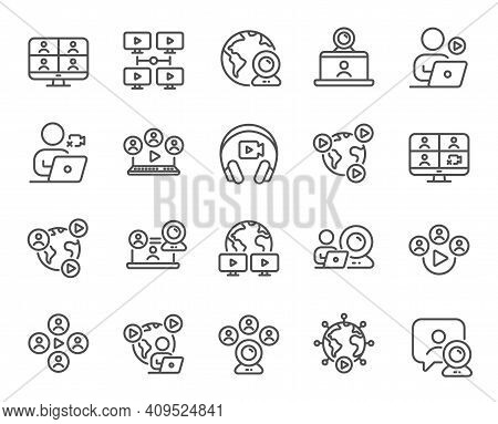 Online Meeting Line Icons. Virtual Presentation, Video Conference, Live Chat Icons. Team Video, Digi