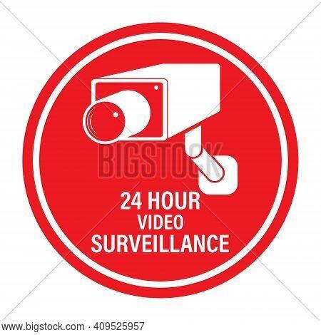 24 Hours Video Surveillance. Vector Video Surveillance Sign With The Inscription. Empty Outline, Fla