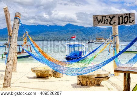 Gili Air Island In The Indian Ocean. 03.01.2017 Beach Comfort. Scenery For The Beach. Made By Hand.