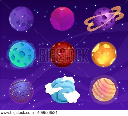 Mega Huge Pack Of Fantasy Cartoon Colorful Planets. Fantasy Abstract Space Objects Vector Illustrati