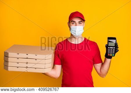 Photo Portrait Of Courier Holding Pizza Boxes Bank Terminal Wearing Facial Mask During Outbreak Isol
