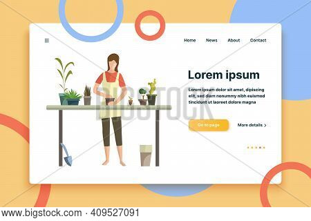Young Woman Busy With Houseplants Flat Icon. Flower Shop, Floriculture, Greenhouse. Leisure Concept.