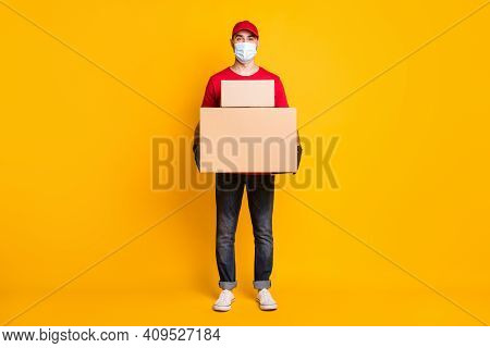Full Length Body Size View Of Nice Guy Mailman Bringing Big Parcels Fast Shipping Wear Mask Health C