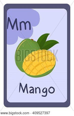Colorful Abc Education Flash Card, Letter M - Mango. Alphabet Vector Illustration With Food, Fruits