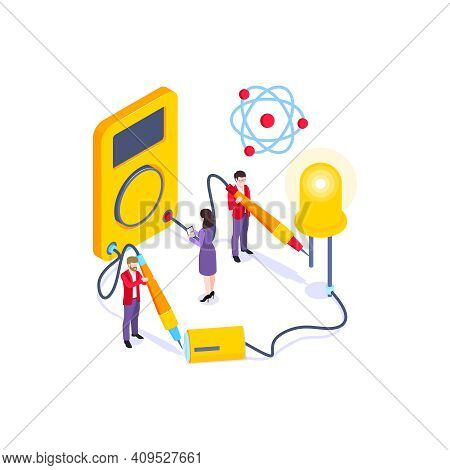 School Subjects Isometric Composition With Human Characters Of Pupils Building Electric Circuit Vect