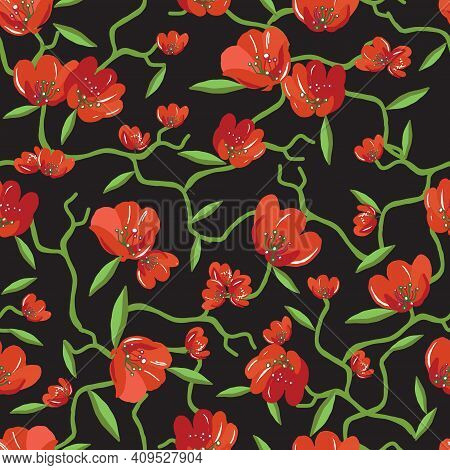 Beautiful Summer Trendy Wild Blooming Flower Red Tulip Seamless Pattern In A Hand Drawing Style. Aqu