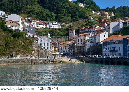 Views Of The Port Of Cudillero, In Asturias, (spain). Clear Day Reflecting The Sun In The Cantabrian