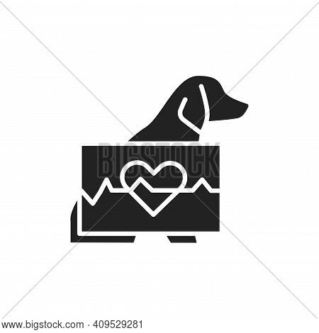 Animal Cardiology Black Glyph Icon. Isolated Vector Element. Outline Pictogram For Web Page, Mobile