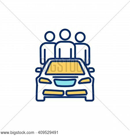 Ride Sharing Rgb Color Icon. Carpooling. Sharing Vehicle With Other Passengers. One-way Transportati