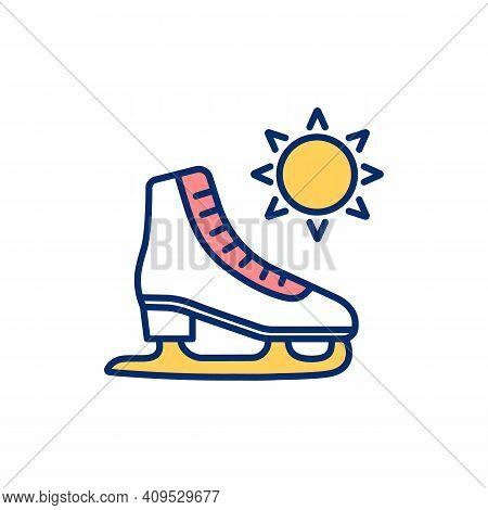 Ice Skating Rgb Color Icon. Metal-bladed Ice Skates. Low Season. Recreational Activity, Sport. Figur