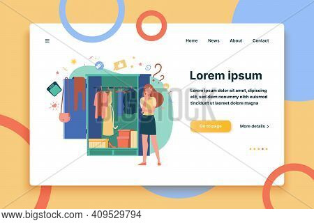 Woman Standing At Open Wardrobe And Choosing Clothes To Wear. Vector Illustration For Garment, Outfi