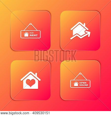 Set Hanging Sign With For Rent, Rising Cost Of Housing, House Heart Shape And Open House Icon. Vecto