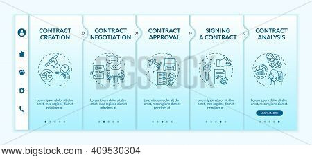 Contract Lifecycle Steps Onboarding Vector Template. Signing Contract. Contract Analysis Process. Re