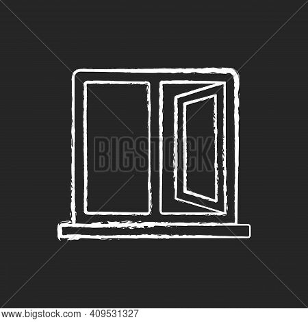 Casement Windows Chalk White Icon On Black Background. Movable Window. Preventing Unwanted Airflow I