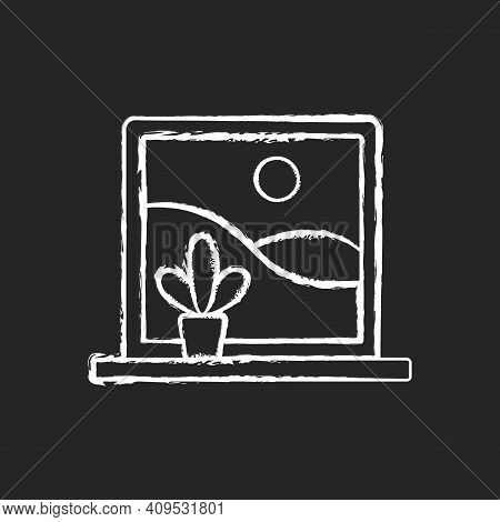 Picture Windows Chalk White Icon On Black Background. Large, Fixed-pane Window Without Glazing Bars.