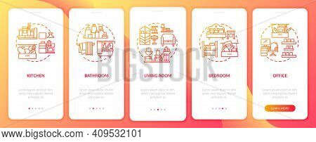 Decluttering Areas Onboarding Mobile App Page Screen With Concepts. Places In Home For Tidying Walkt