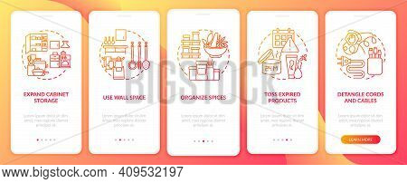 Decluttering Tips Onboarding Mobile App Page Screen With Concepts. Tossing Expired Products Walkthro