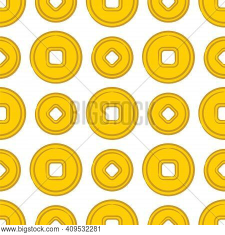 Seamless Pattern Of Gold Chinese Coins On A White Background. Hand-drawn Symbols Of Good Luck, Wealt