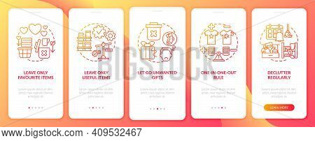 Decluttering Tips Oonboarding Mobile App Page Screen With Concepts. Home Cleaning-out And Tidying Wa