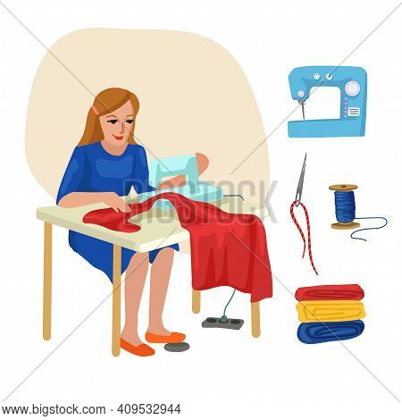 Seamstress, Dressmaker. Professions, Character And Items For His Work. Children Education. Exercise