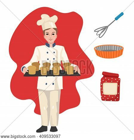 Baker With Pastries. Professions, Character And Items For His Work. Children Education. Exercise For