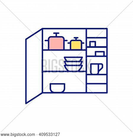 Finding Free Space In House Rgb Color Icon. Wardrobe With Dishes And Pans. Cabinets And Shelves In K