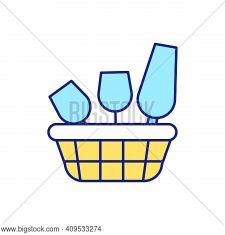 Putting Away Unused Items In Containers And Boxes Rgb Color Icon. Go Over Dishes And Clutter House.